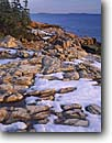 Stock photo. Caption: Snow on coastal point   at mouth of Ship Harbor Acadia National Park Mount Desert Island,  Maine -- united states america parks shoreline shorelines eastern east coast winter snow snowfall snowfalls atlantic seaboard seascape seascapes new england coast coastline coastlines islands