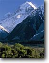 Stock photo. Caption: Mt. Cook from The Hermitage Mt. Cook National Park Southern Alps South Island, New Zealand -- international world travel mountain snow spring december traveler landscape landscapes destinations tourist glaciers glaciated glacial mountains mount alpine subalpine moraine moraines terminal mountain sunny blue skies clear capped peaks peak