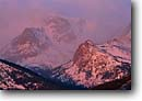 Stock photo. Caption: Dawn on the Continental Divide Rocky Mountain National Park Rocky Mountains Colorado -- united states america mountains  mountain ranges spring winter alpenglow parks landscape landscapes majestic tourist travel destination destinations  peak peaks rockies misty snow capped scenic scenics soft majesty altitude