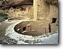 Stock photo. Caption: Kiva, Cliff Palace Chapin Mesa Mesa Verde National Park Colorado -- indian ruin ruins pueblo pueblos anasazi parks kivas alcove alcoves america native american americans world heritage site sites ancient civilization civilizations  plateau archeology archeological early snow construction round dwellings building